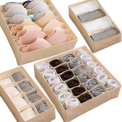 4 Box Pieghevole In Tessuto Organizzatore Cassetti Per Biancheria Intima Reggiseni Calzini Cravatte Accessori Colore Beige Amazon It Casa E Cucina