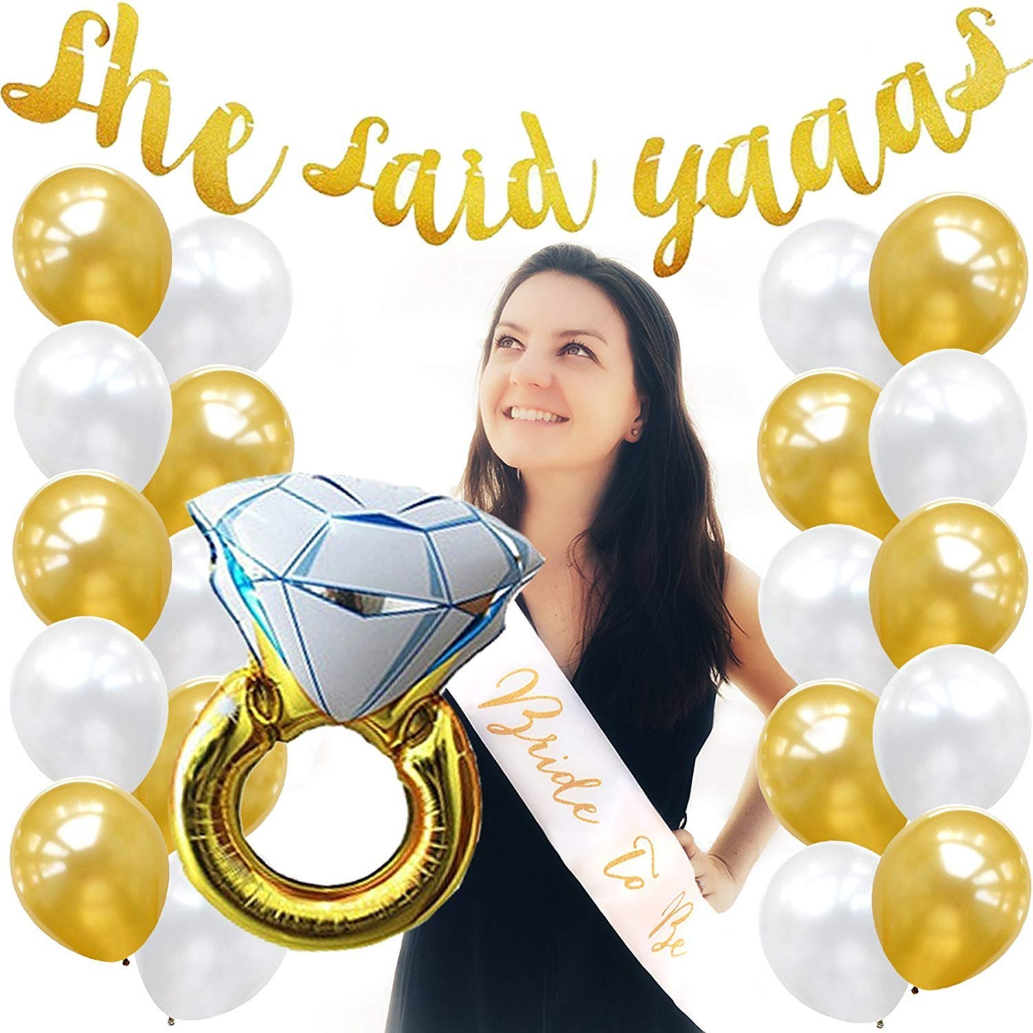 Bride to Be Sash 20 Gold and White Balloons Gold Bachelorette Party Pack Bridal Shower Decorations Wedding Supplies Set,She Said Yaaas Banner Engagement Ring Foil Balloon