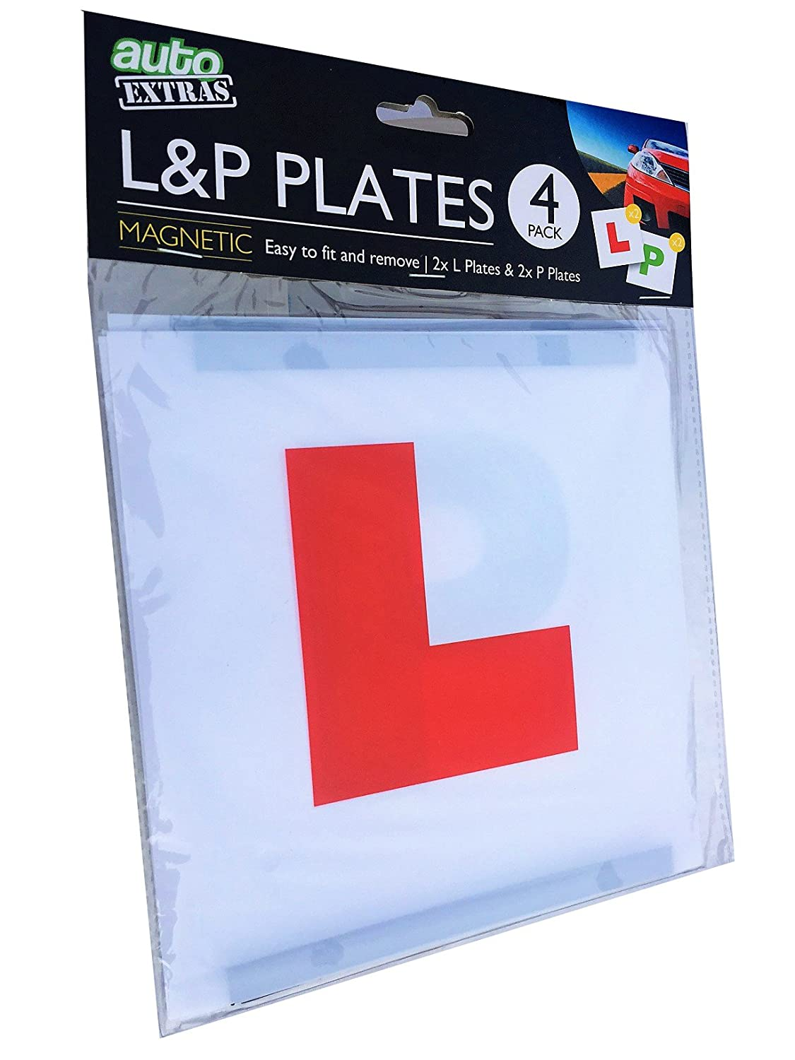 Learner and New driver Plates pack, 2 x L and 2 x P, magnetic