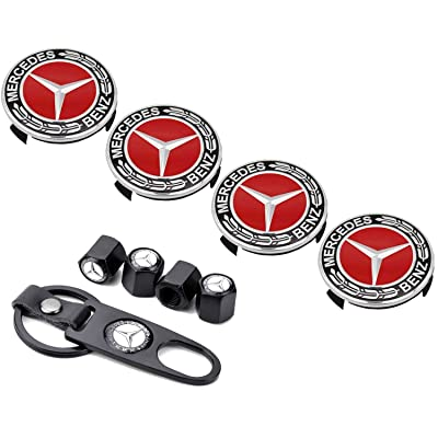 Sparkle-um 9-Piece Set 75mm Mercedes Benz Emblem Badge Wheel Hub Caps Centre Cover +Tire Valve Stem Caps Cover with Mercedes Keychain for Mercedes Benz.(Red): Automotive
