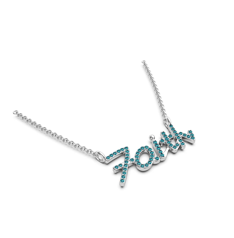 Frostrox 14K Gold 0.24 Carat Round Cut FAITH Script Diamond Pendant