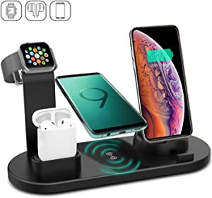Kertxin 4 in 1 Wireless Charger Stand,QI Fast Wireless Charging Station for Apple Watch iWatch,Airpod,iPhone Xs/XR/X/8 Plus/8,Samsung Galaxy S9 S8,LG Black