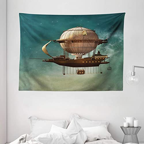 Ambesonne Fantasy Tapestry, Surreal Sky Scenery with Steampunk Airship Fairy Sci Fi Stardust Space Image, Wide Wall Hanging for Bedroom Living Room Dorm, 80 X 60 , Teal Brown