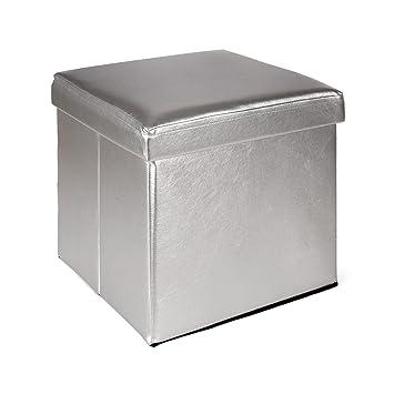 Grand Metal Pouf / Coffre Couleur Argent Pliable Argent   Alinea 38.0x38.0x3