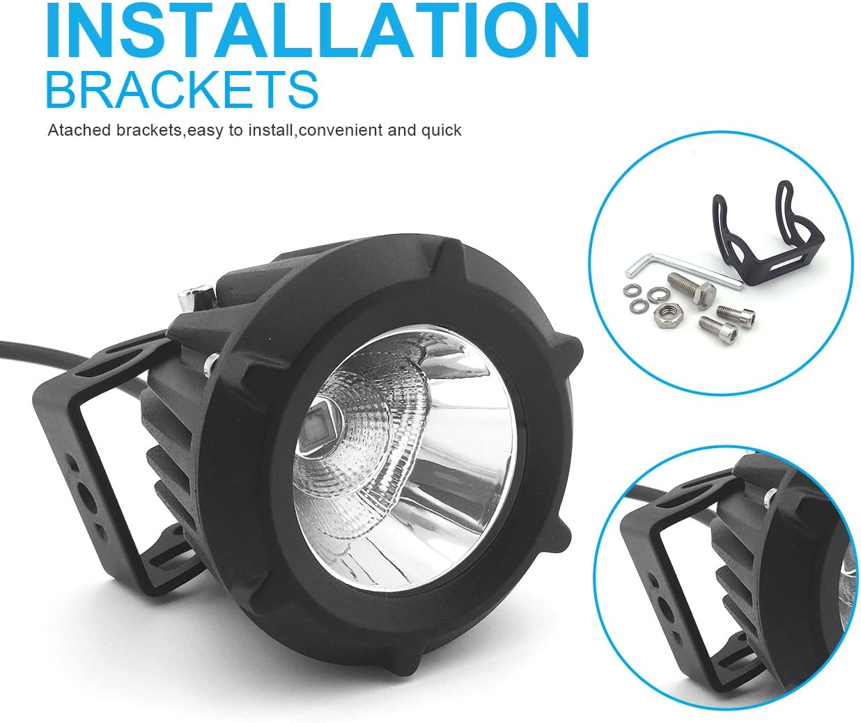 AutoTime 2 Pack 3.5 Inches 25W LED Work Light Flood Spot Combo Beam 6000K White Led Pods Light Small Offroad Driving Fog Light for Motorcycle Jeep SUV Truck Wrangler Boat Tractor