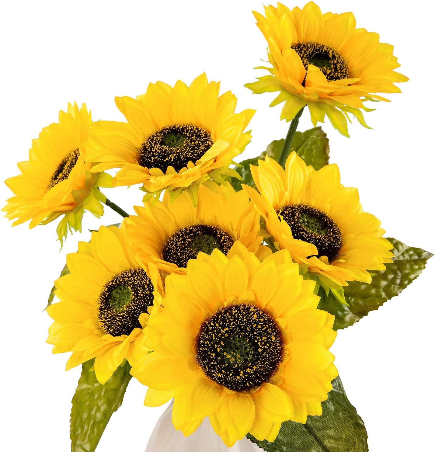 New; Poly Silk; Sunflower Bush; 5 Flower Heads; Approx 9 Long; Sunflower Head 3; Cheerful; FREE SHIPPING !!!