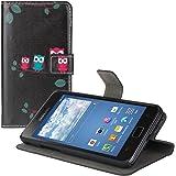 kwmobile Wallet case Custodia a portafoglio per Samsung Galaxy S2 S2 PLUS - Custodia flip cover in Design civette famiglia ramo con scompartimento tessere e funzione supporto in rosso blu nero