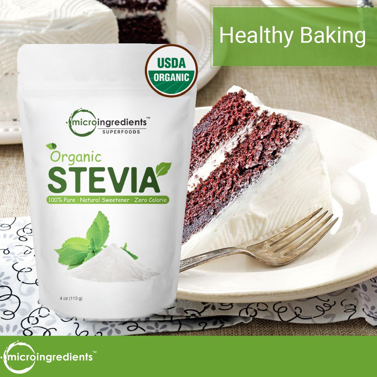 Pure Organic Stevia Powder, 8 Ounce, 1418 Serving, 0 Calorie, Natural Sweetener and Sugar Alternative, No GMOs and Vegan Friendly by Micro Ingredients (Image #3)