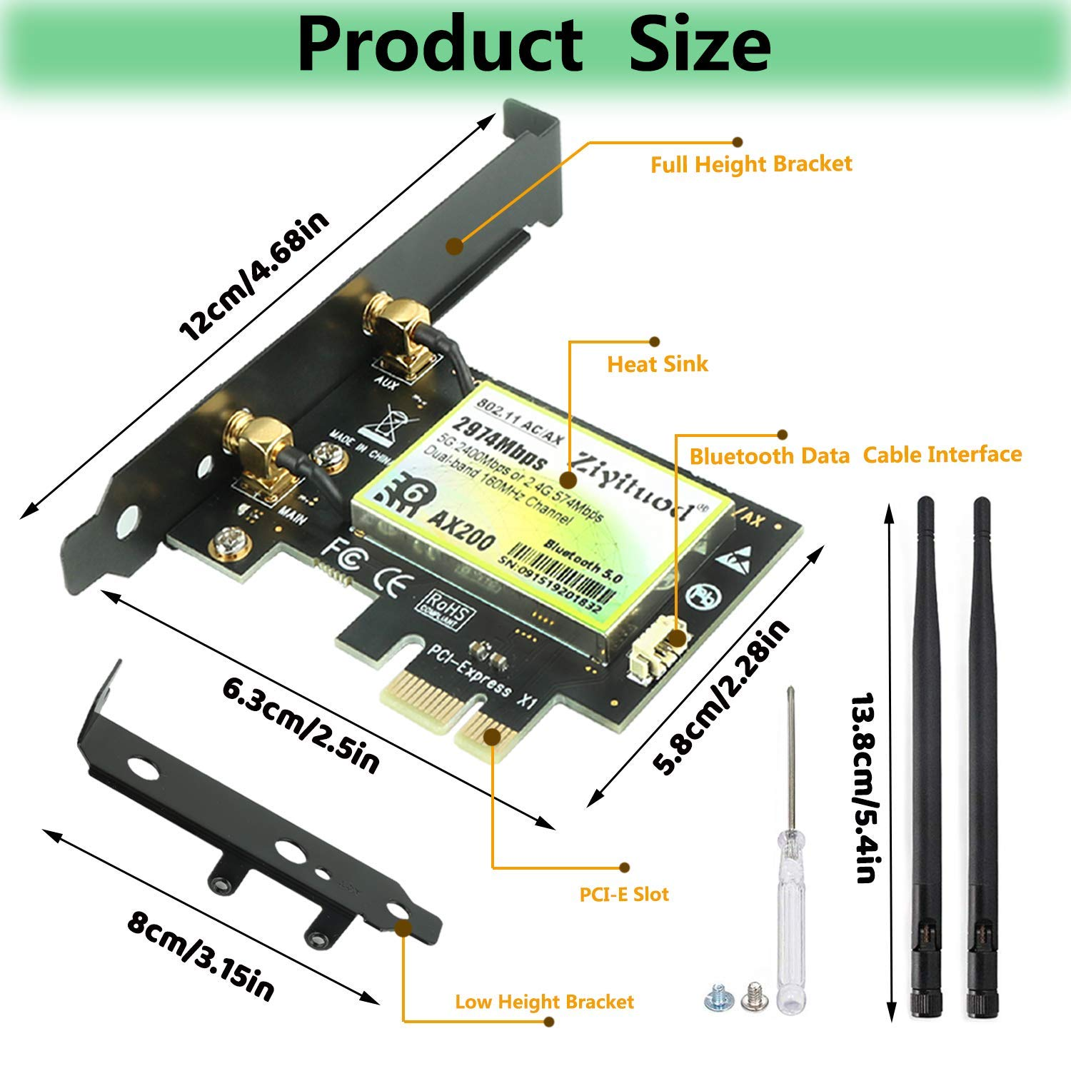 AX2974Mbps Wireless Adapter 802.11ax PCIe WiFi Card with Bluetooth5.0 /… 2974Mbps AX200 2.4GHZ+ 5GHZ for PC Ziyituod AX200 WiFi 6 Card Support Windows 10 64bit,Chrome OS and Linux 4X4 Dual-Band