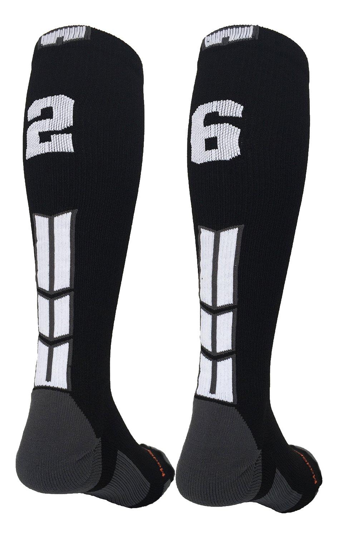 MadSportsStuff Black/White Player Id Custom Over The Calf Number Socks...