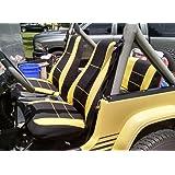 GEARFLAG Neoprene Seat Cover Custom fits Jeep Wrangler 1987-96 YJ Full Set (Front + Rear Set) (Yellow/Black)