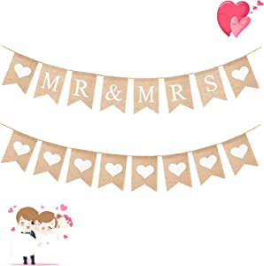 WATINC 2pcs MR & MRS Burlap Banner, White Heart Bunting Garland for Valentine's Day Wedding Party Decor, Bridal Shower Party Favors Supplies, Anniversary Photo Booth Props, Valentine's Home Wall Decor