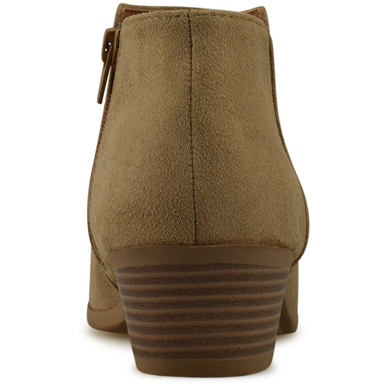 watch 503b3 b0ed6 ... Premier Standard Women s Round Toe Toe Toe Faux Suede Stacked Heel  Western Ankle Bootie B07DP93NXP Boots