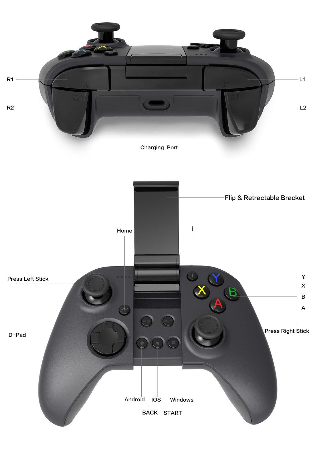 Game Controller MYGT Bluetooth Wireless Gaming Controller Gamepad for Android Smartphone Windows PC PS3 VR TV Box by MYGT (Image #6)