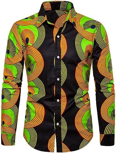 SoonerQuicker Camisas de Hombre Hombres Casual Estampada 3D Vintage Slim Camisa de Vestir de Manga Larga Blusa Tops T Shirt tee: Amazon.es: Ropa y accesorios