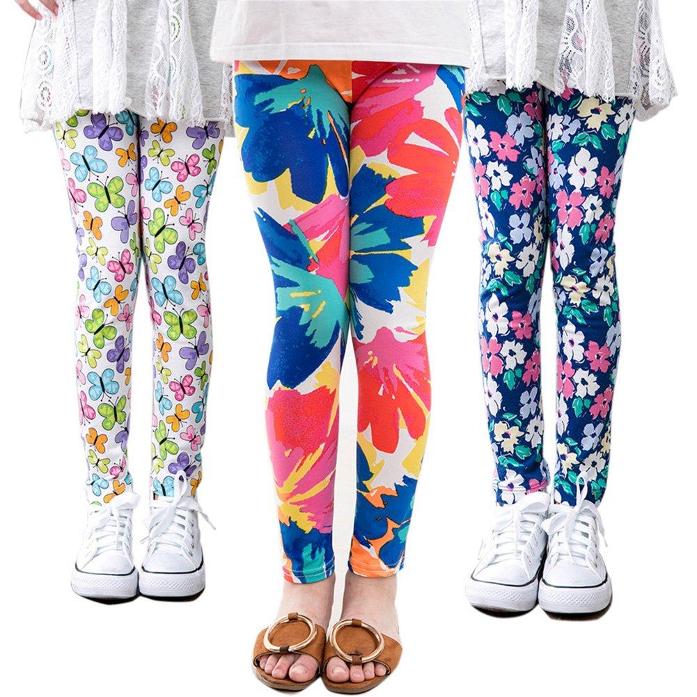 3 Packs Girls Leggings Pants Stretch Printing Flower Toddler Leggings Kids (8-9 Years, Pack-A)