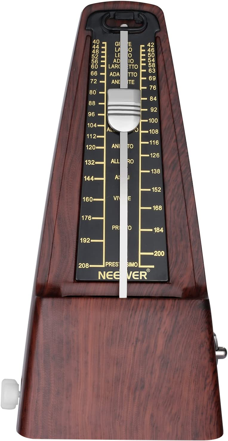 Neewer NW-707 Metrónomo mecánico en termina cuadrado con sincronización exacta y tempo para Piano Guitarra bombo Violin y otros instrumentos musicales, Ideal para amantes de la música(Teca)
