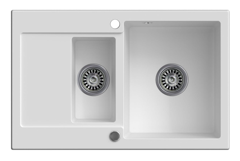 Granitspülbecken Sevilla, Weiß, 1,5-kammerig, mit automatischem Siphon, ein umkehrbares Spülbecken, für den Schrank ab 60 cm