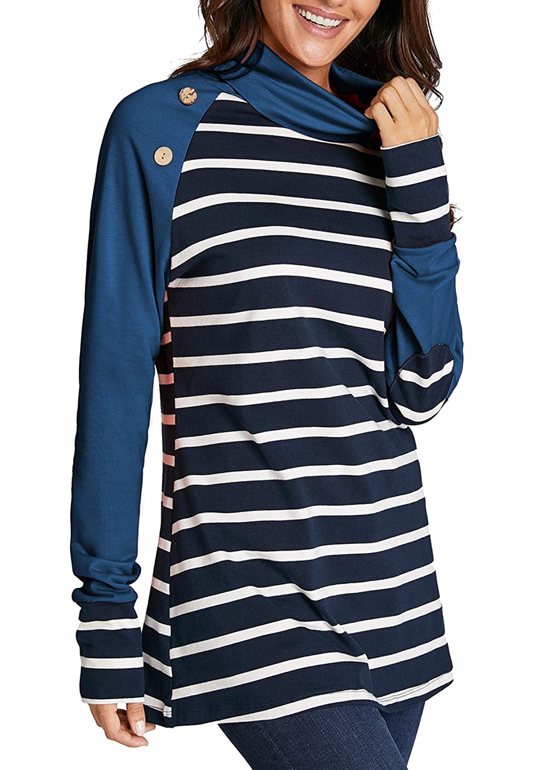 7f20a6b84eff3 Mystry Zone Womens Turtleneck Cowl Neck Tops Patchwork Shirts Oversized  Tunic Long Sleeve Pullover Blue S at Amazon Women s Clothing store