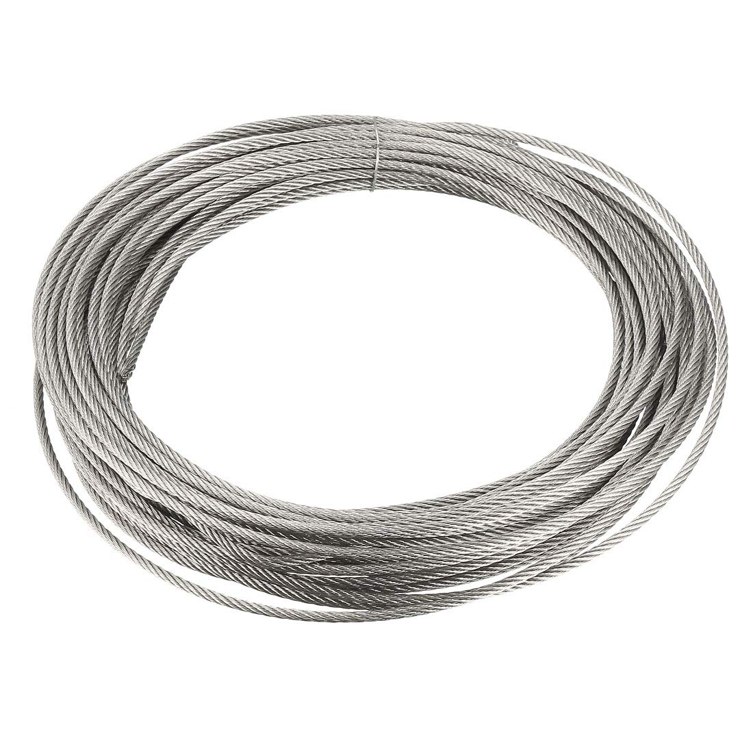 uxcell/® Stainless Steel Wire Rope Cable 1.3mm 0.05 inch Dia 190.3ft 58m Length 17 Gauge 304 Grade for Hoist Lifting Grinder Pulley Wheel