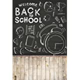 AOFOTO 15x8ft Orange Color Back to School on Blackboard Backdrop Welcome Back First Day Celebration Classroom Homecoming School Dorm Room Party Decoration Poster Banner Photo Studio Props Vinyl