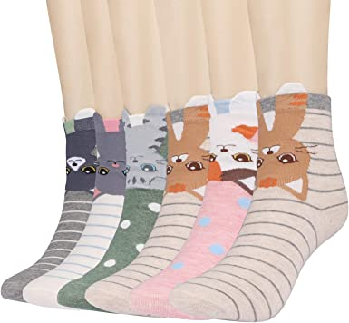 Calcetines de Animales Lindos Mujer Calcetines de Divertidos Ocasionales 5 Pares Calcetines de Algod/ón Mujer Calcetines T/érmicos