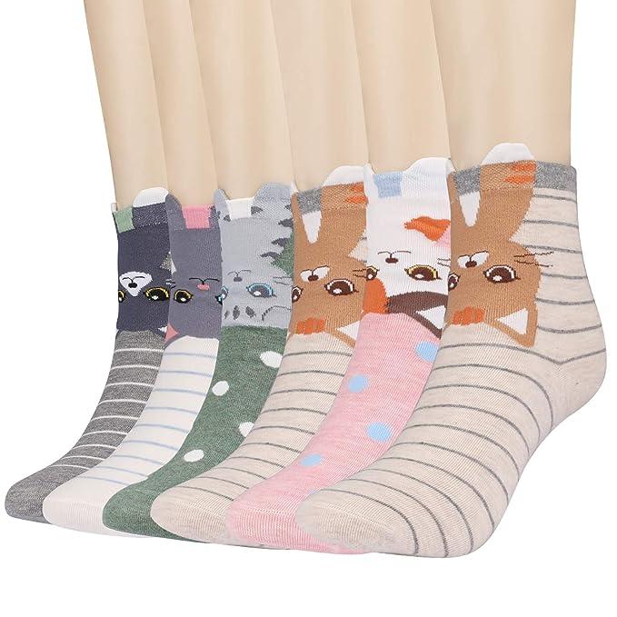 Xddias 6 Pares Calcetines de Algodón para Mujeres, Calcetines Térmicos, Ocasionales Animales de Dibujos Gato Patrón Calcetines Invierno Primavera: ...