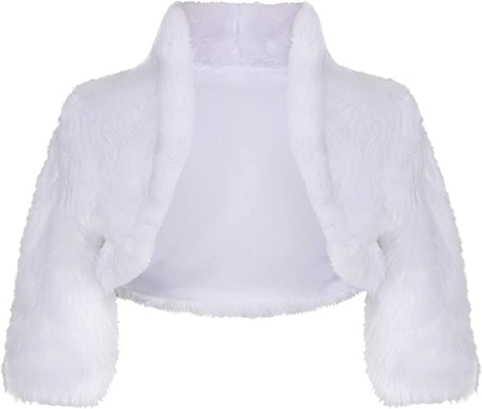 Lacey Bell Girls Communion Flower Girl Knitted Faux Fur Jacket Bolero CJ18