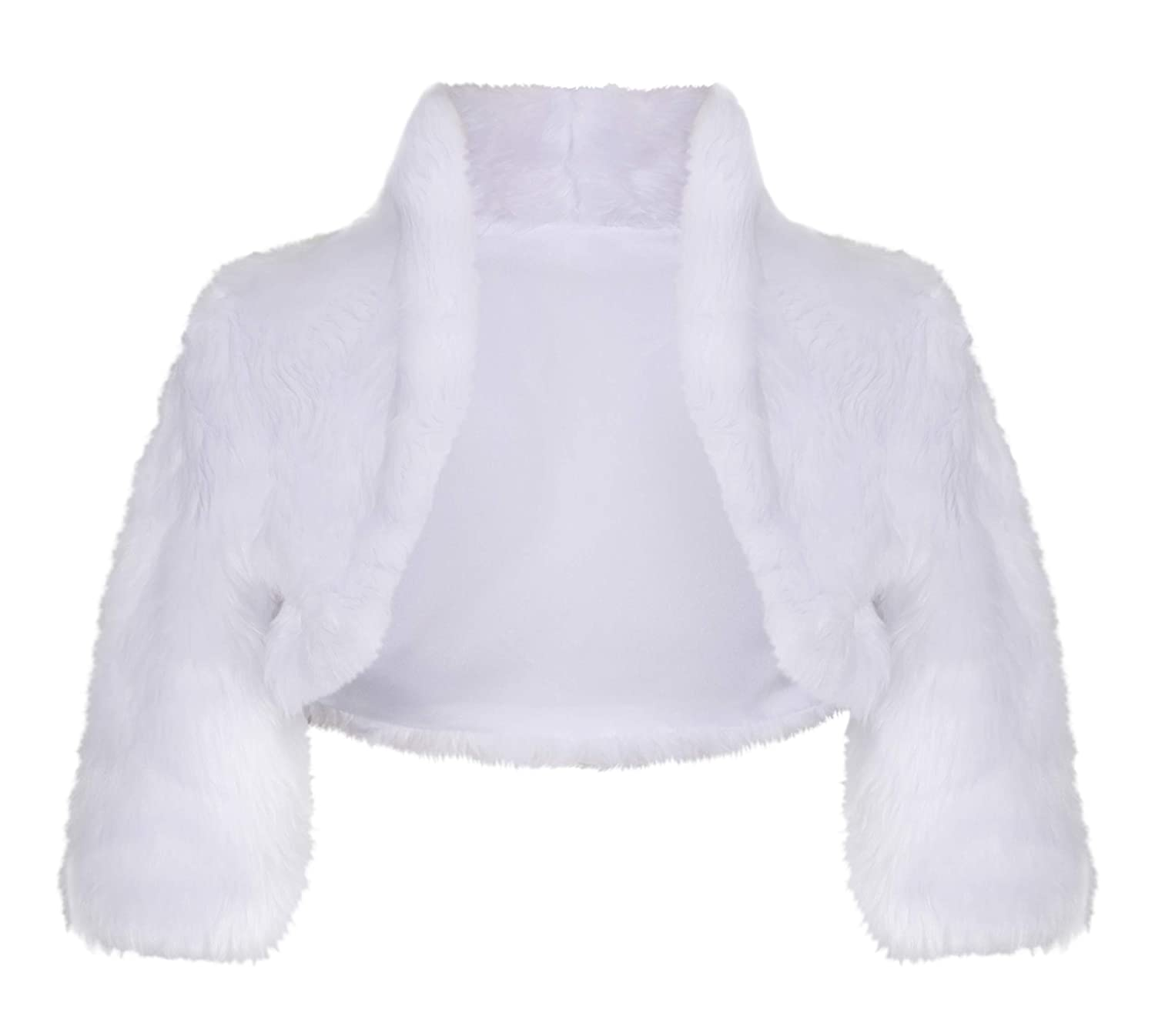 Girls Communion Flower Girl Soft Faux Fur Jacket Bolero CJ57 Lacey Bell CJ-57