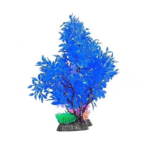 ueetek Acuario Artificial Planta Árbol Pez Tank Decoración (Azul)