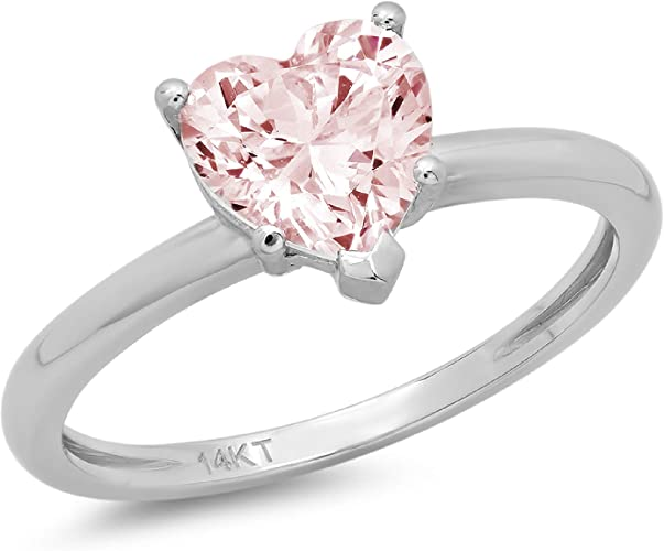 1.95ct Pink Lab Sapphire /& Diamond Halo 14k White Gold Promise Anniversary Ring