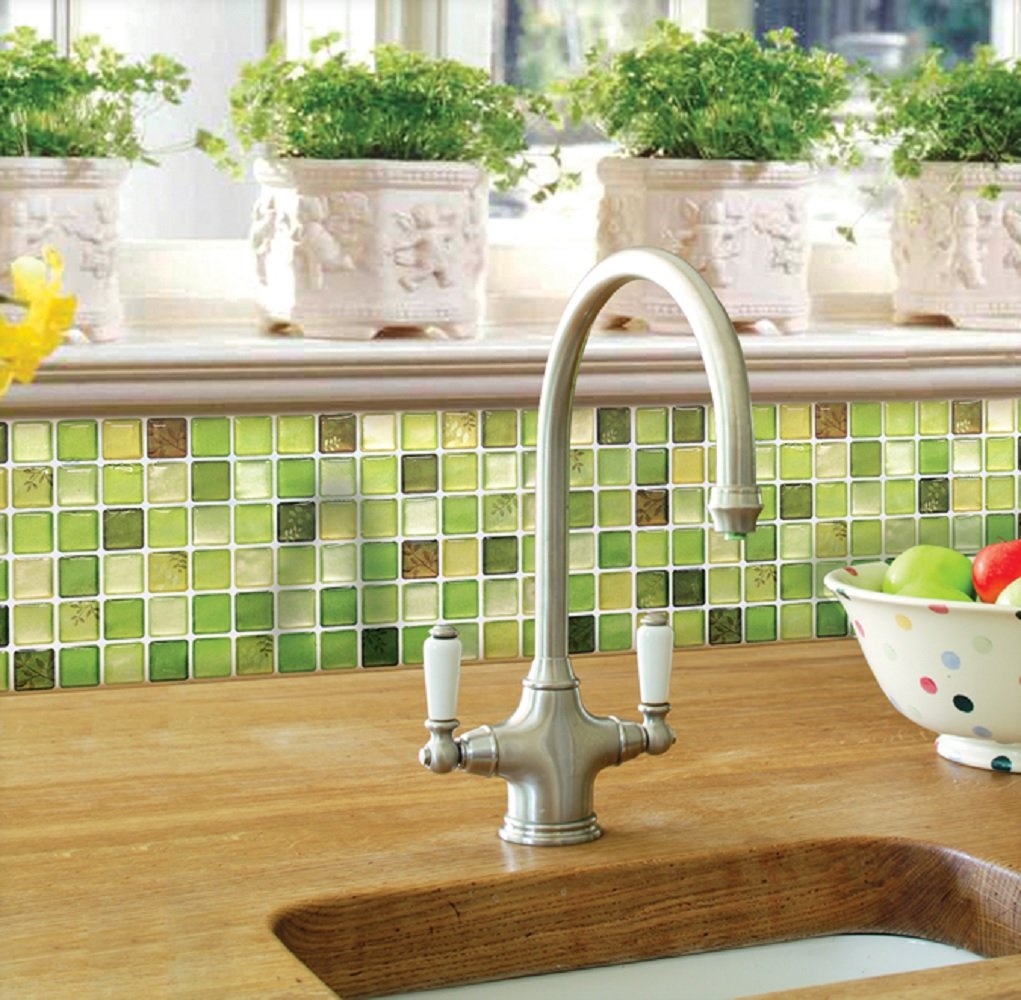 Beaustile Green Mosaic 3D Wall Sticker Home Decor 2 Sheets Fire Retardant Backsplash Wallpaper Bathroom Kitchen DIY Plain Design