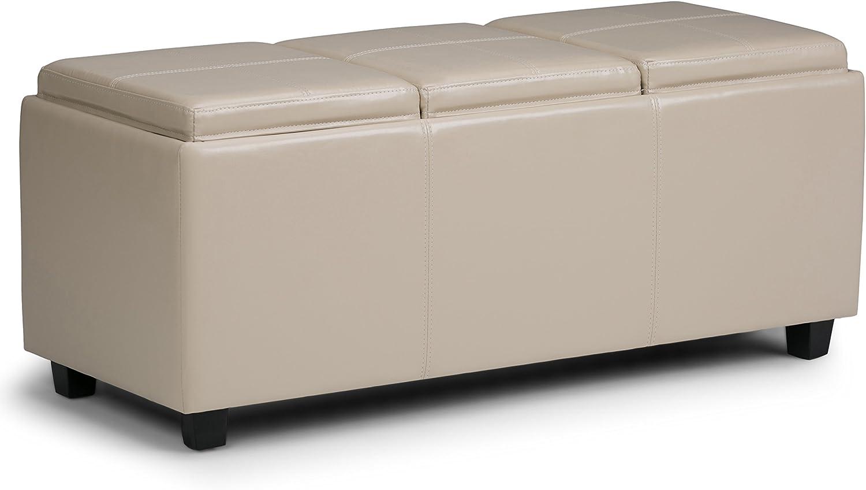 Simpli Home 3AXCAVA-OTTBNCH-02-CR Avalon 42 inch Wide Contemporary Rectangle Storage Ottoman in Satin Cream Faux Leather