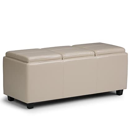 Simpli Home Avalon Faux Leather Rectangular Storage Ottoman With 3 Serving  Trays, Large, Satin