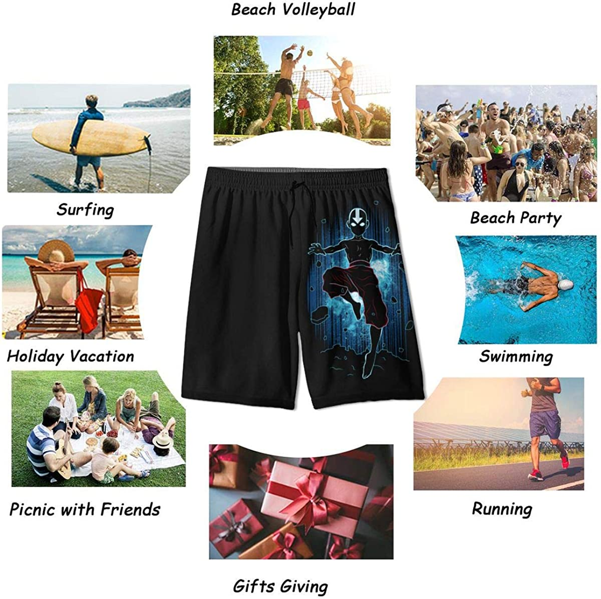 Yaoxin Ava-Tar The Last Legend Air-Bender of Korra A-ANG Youth Swim Trunks Quick Dry Teen Board Shorts Boys Bathing Suits
