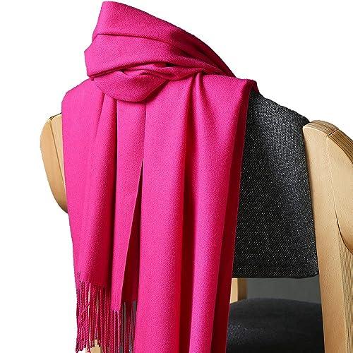 Unisex Colore Solido Cashmere Feel Sciarpe Stole Scialli Con Le Nappe(Rosa Rossa)