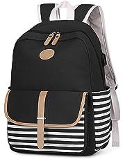 S-ZONE French Breton Nautical Striped Backpack Rucksack Marine Sailor Navy Stripy School Bags for Teenager Girls (Black-USB Version)