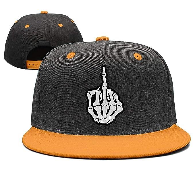 bac1cb57756 Tkjdadjd Finger Art Middle Finger Skull Popular Hip-Hop Flat Bill Hats  Adjustable Flat Cap