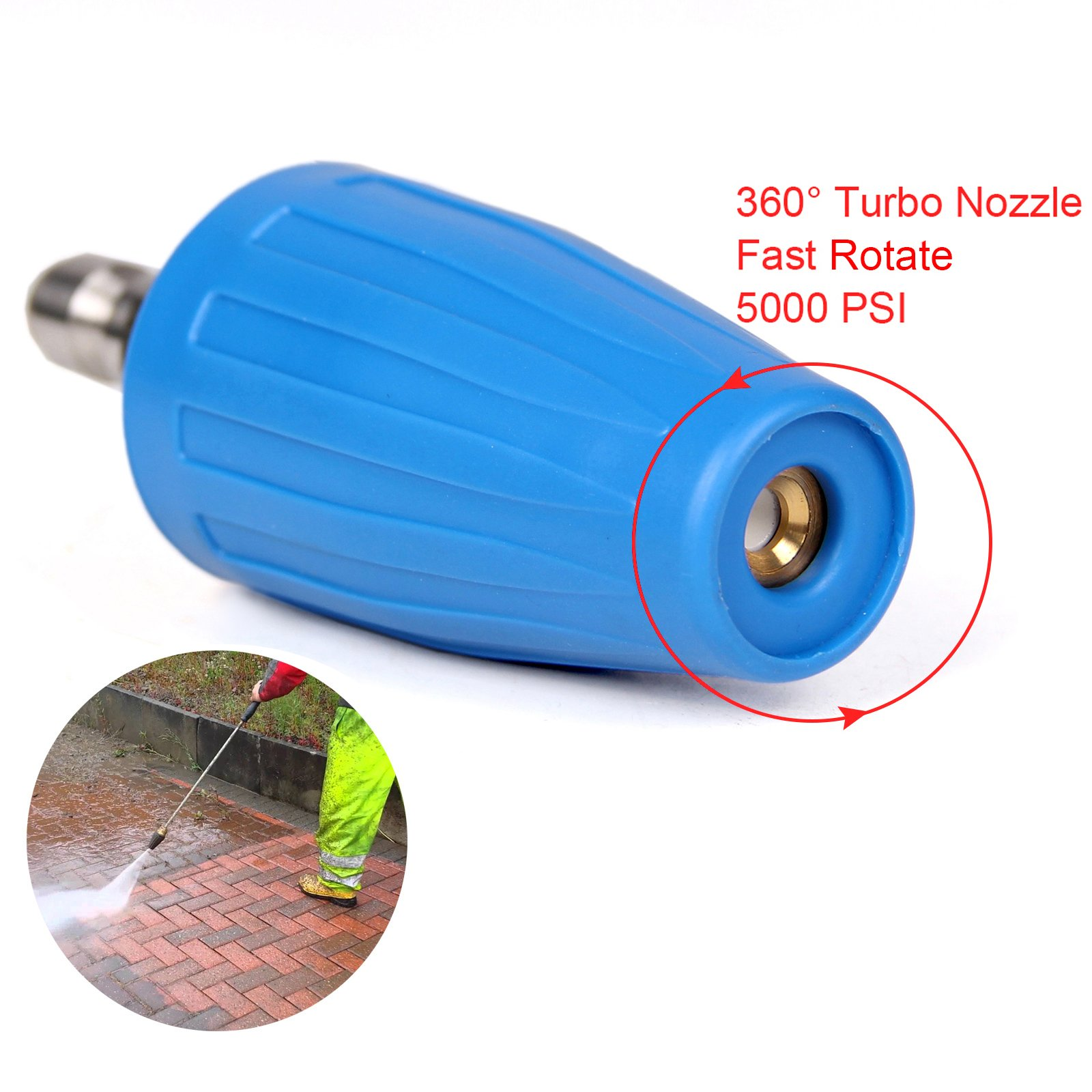 PENSON & CO. 4.0 GPM Turbo Rotary Rotating Nozzle for Pressure Washer 1/4 Quick Connect 5000PSI