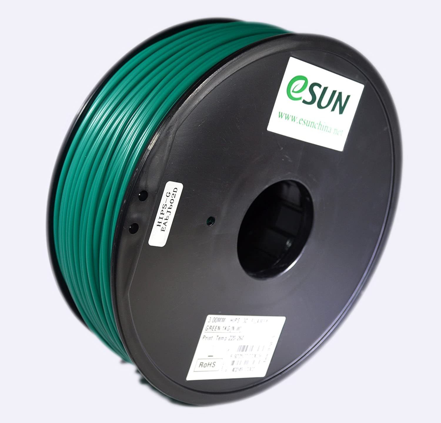 eSUN 3mm Black HIPS 3D Printer Filament 1KG Spool Black IG-C-HIPS300B1 2.2lbs