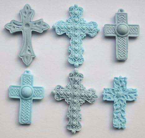 Fairy Dust Creations 6 Comestible Cruz Azul para Bautizo, Bautismo, decoración de Pasteles Cupcake