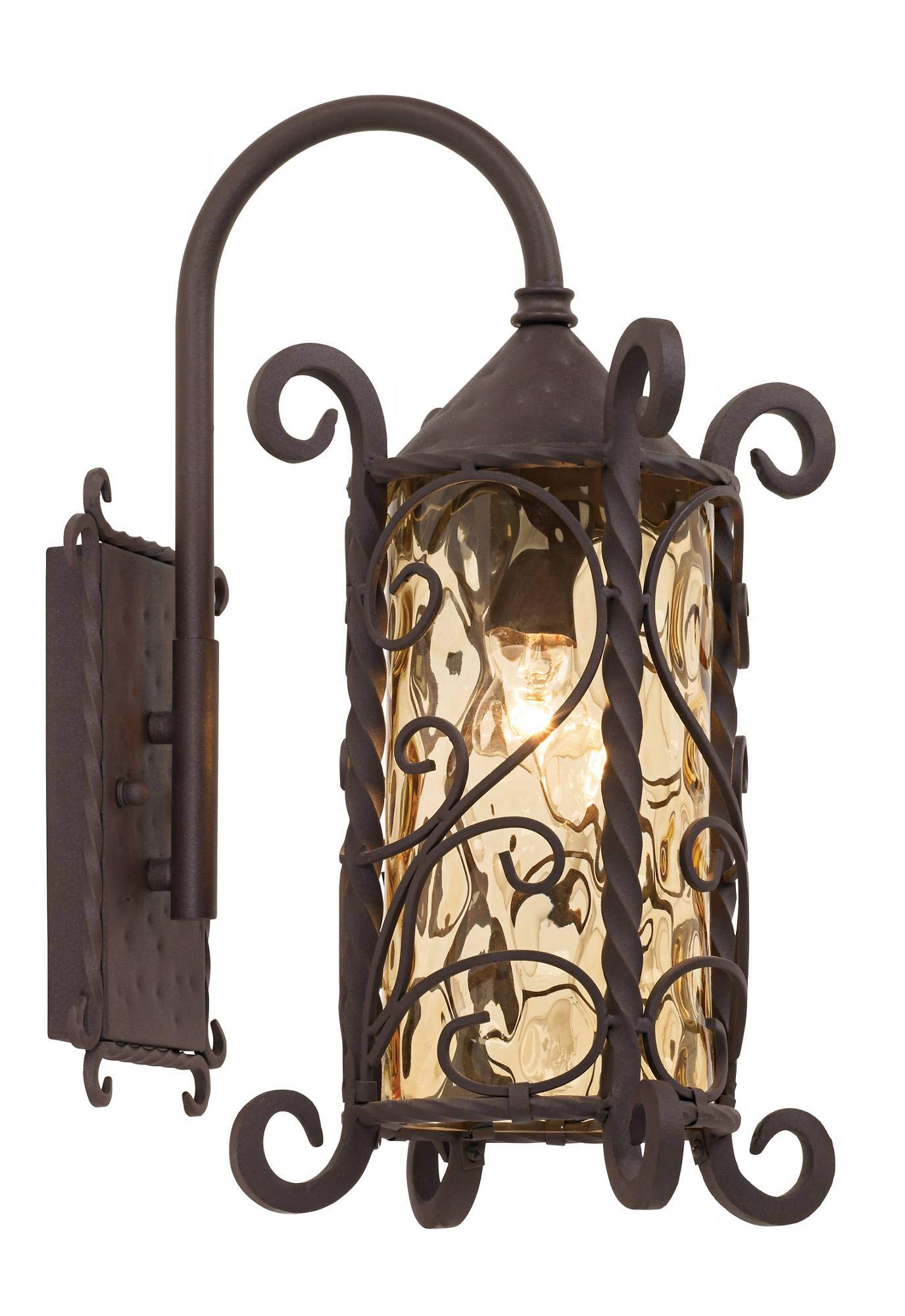 Casa Seville Rustic Outdoor Wall Light Fixture Mediterranean Inspired Dark Walnut Iron Twists 18 1/2'' Champagne Hammered Glass for Exterior House Porch Patio Deck - John Timberland by John Timberland (Image #2)