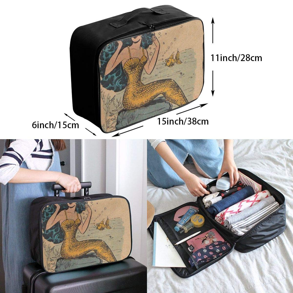 Vintage Mermaid With Blue Hair Travel Lightweight Waterproof Foldable Storage Carry Luggage Duffle Tote Bag Large Capacity In Trolley Handle Bags 6x11x15 Inch
