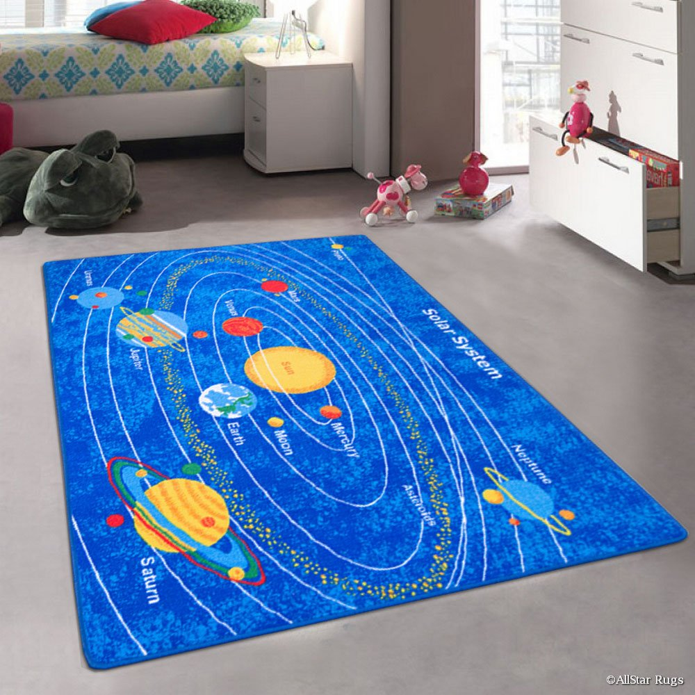 Allstar Kids / Baby Room Area Rug. Solar System Bright Colorful Vibrant Colors (3' 3'' x 4' 10'')