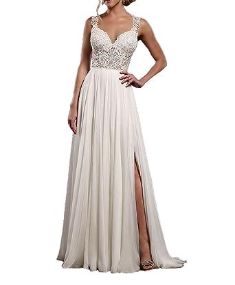 Royaldress Weiss 2017 Neu Zwei-traeger Spitze Chiffon Hochzeitskleider  brautkleider brautmode Lang A-linie