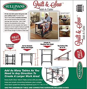 Sullivans Quilt & Sew Add Table, by The Yard, White