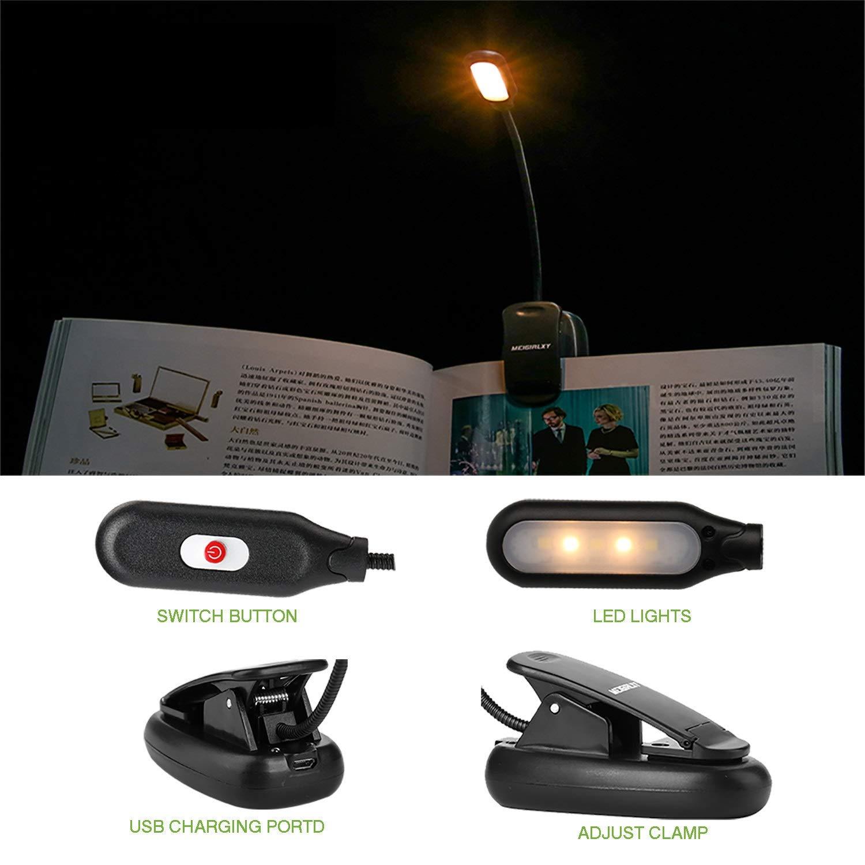 Luminosit/é Sur 3 Niveaux Et Soin Des Yeux Pour La Chambre D/étude Light USB Rechargeable Protection des yeux Lampe De Lecture Rechargeable Avec 5 LED
