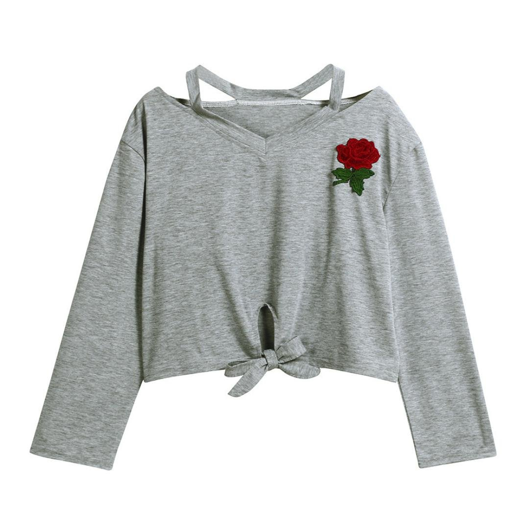 Lilicat Frauen Sommer T-Shirt Kurzarm Oberteile V-Ausschnitt Crop Top Mode Freizeit Weste Baumwolle Hemden Rose Blumen Gedruckt Shirt Bluse Damen Vintage Tank Top LILICAT_Bekleidung