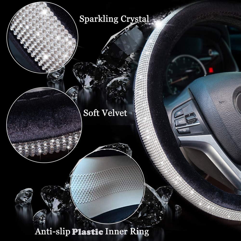 Valleycomfy Crystal Diamond Steering Wheel Cover Soft Velvet Feel Bling Steering Wheel Cover for Women Universal 15 inch Plush Wheel Cover Black