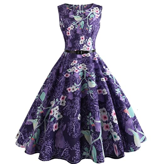 c92a1e24e6145 vmree Women Vintage 1950's Audrey Hepburn Style Dress Floral Print Waisted  Rockabilly Swing Sundress